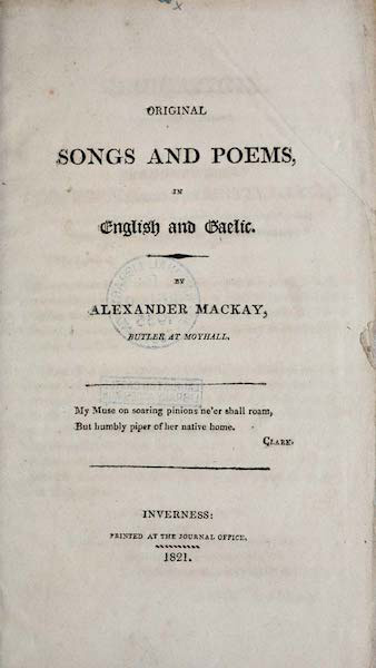 Original songs and poems, in English and Gaelic