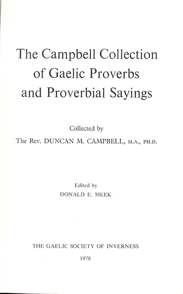 The Campbell collection of Gaelic proverbs and proverbial sayings