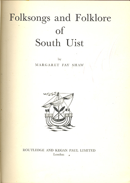 Folksongs and Folklore of South Uist