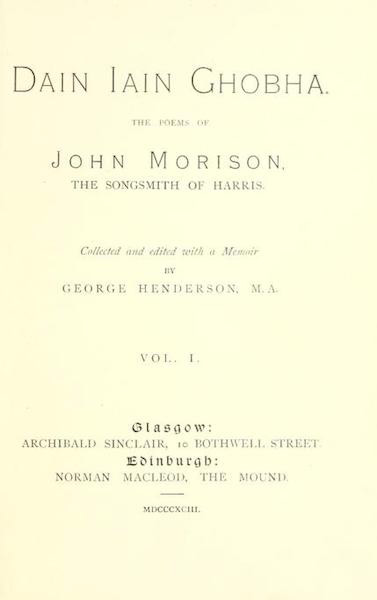 Dain Iain Ghobha (The Poems of John Morison, the Songsmith of Harris)