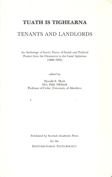 Tuath is Tighearna. Tenants and Landlords