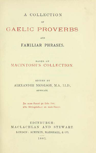 Collection of Gaelic Proverbs and Familiar Phrases