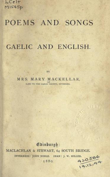 Poems and Songs: Gaelic and English